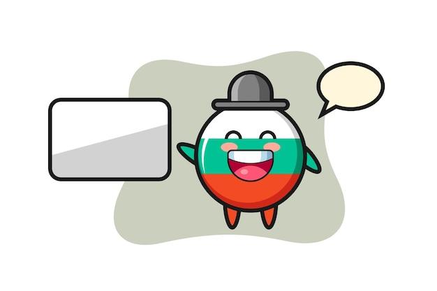 Illustration de dessin animé d'insigne de drapeau de bulgarie faisant une présentation, conception de style mignon pour t-shirt, autocollant, élément de logo