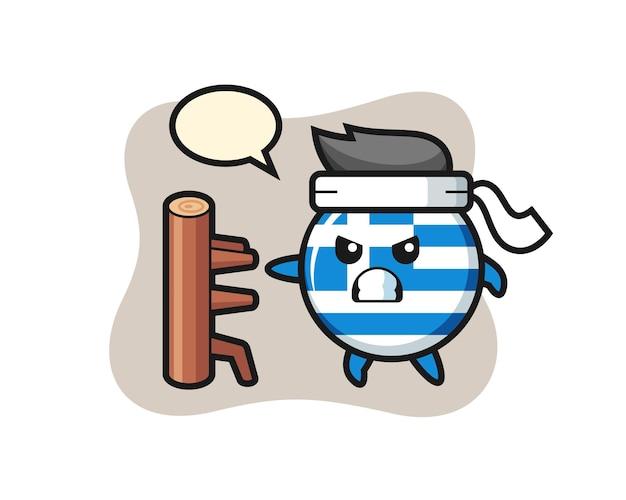 Illustration de dessin animé d'insigne de drapeau de la grèce en tant que combattant de karaté, conception de style mignon pour t-shirt, autocollant, élément de logo