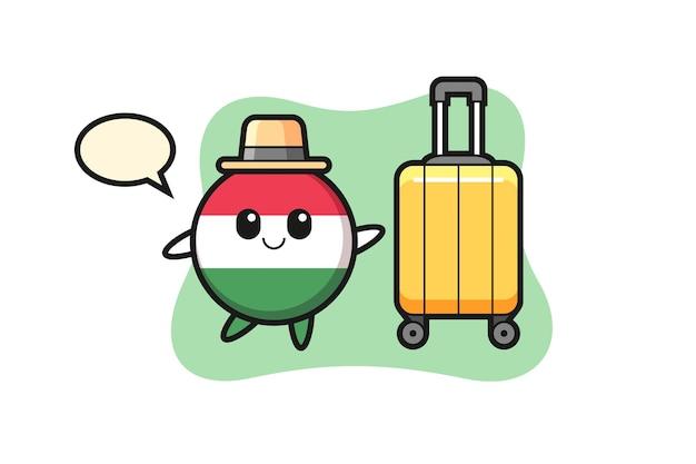 Illustration de dessin animé d'insigne de drapeau de la hongrie avec des bagages en vacances, conception de style mignon pour t-shirt, autocollant, élément de logo