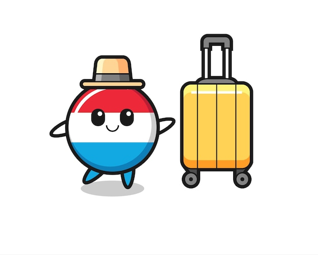 Illustration de dessin animé d'insigne de drapeau luxembourgeois avec bagages en vacances, design de style mignon pour t-shirt, autocollant, élément de logo