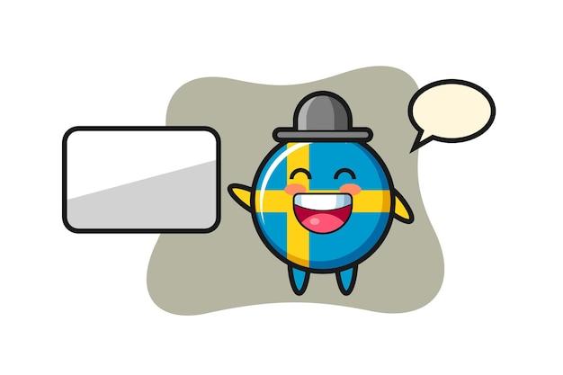 Illustration de dessin animé d'insigne de drapeau de la suède faisant une présentation, conception de style mignon pour t-shirt, autocollant, élément de logo