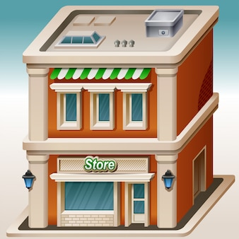 Illustration de dessin animé isométrique de magasin. jolie maison