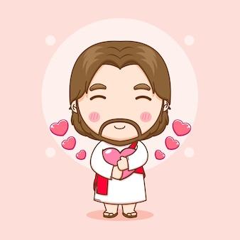 Illustration de dessin animé de jésus mignon tenant l'amour