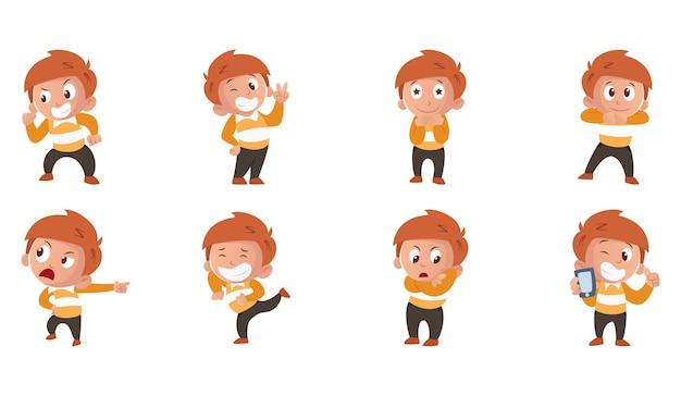 Illustration de dessin animé de jeu d'autocollants garçon
