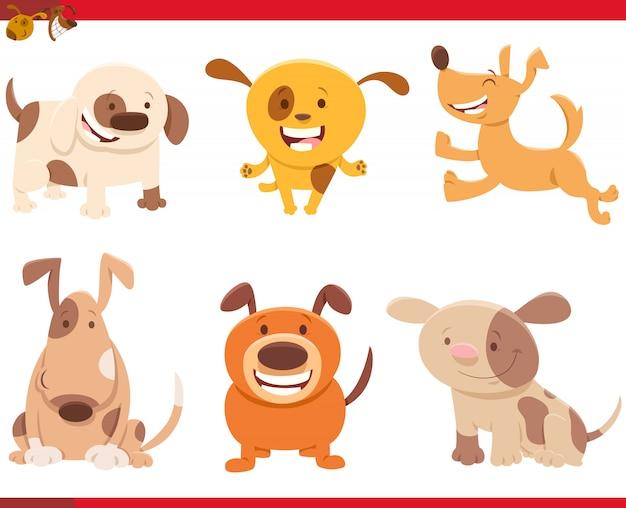 Illustration de dessin animé de jeu de caractères de chiens drôles