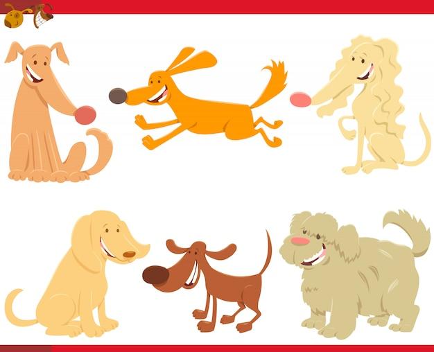 Illustration de dessin animé de jeu de caractères de chiens