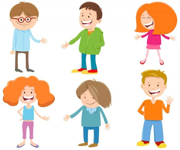 Illustration de dessin animé de jeu de caractères d'enfants