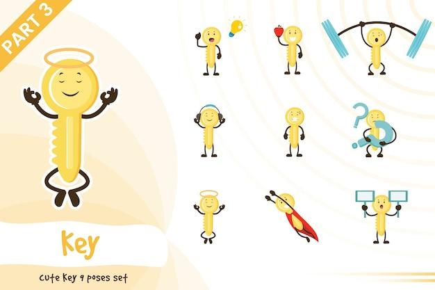 Illustration de dessin animé de jeu de clés mignon