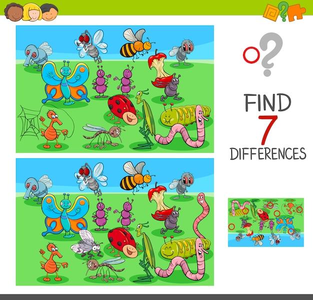 Illustration de dessin animé de jeu de différences pour les enfants