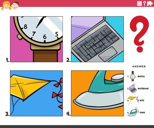 Illustration de dessin animé d'un jeu éducatif d'activité d'objets de devinette pour les enfants