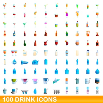 Illustration de dessin animé de jeu d'icônes de boisson isolé sur blanc
