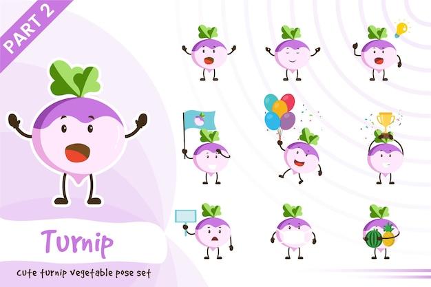 Illustration de dessin animé de jeu de légumes mignon navet