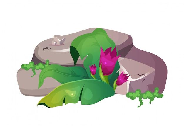 Illustration de dessin animé de jungle. partie montagneuse à feuillage. moulu avec des feuilles et s'épanouir. roche avec objet de couleur fleur plate. nature subtropicale isolée sur fond blanc