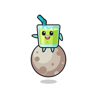 Illustration de dessin animé de jus de melon assis sur la lune, design de style mignon pour t-shirt, autocollant, élément de logo