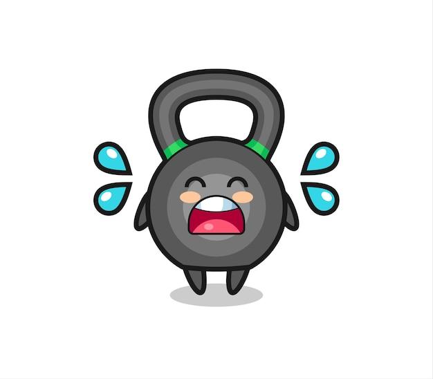 Illustration de dessin animé kettlebell avec geste qui pleure, design de style mignon pour t-shirt, autocollant, élément de logo