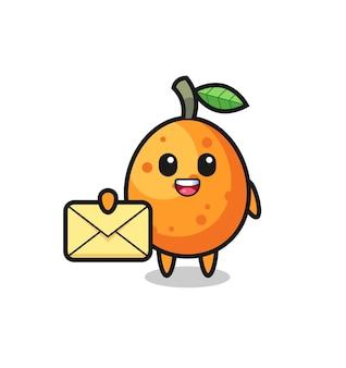 Illustration de dessin animé de kumquat tenant une lettre jaune, design de style mignon pour t-shirt, autocollant, élément de logo