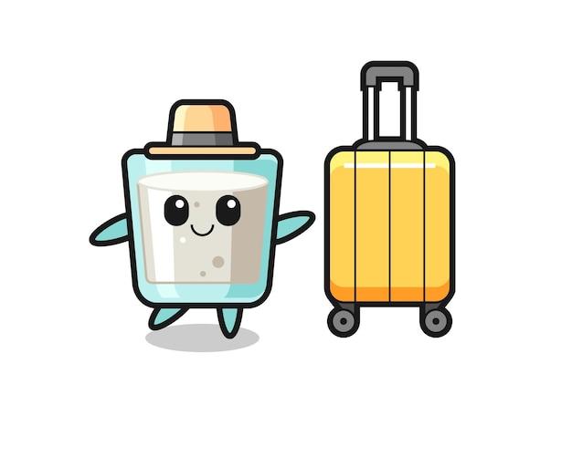 Illustration de dessin animé de lait avec des bagages en vacances, design de style mignon pour t-shirt, autocollant, élément de logo