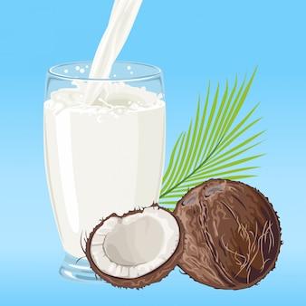 Illustration de dessin animé de lait de coco coulant dans un verre.