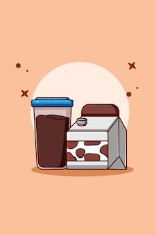 Illustration de dessin animé de lait en poudre et de lait au chocolat