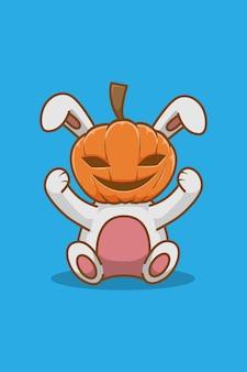 Illustration de dessin animé de lapin et citrouille d'halloween