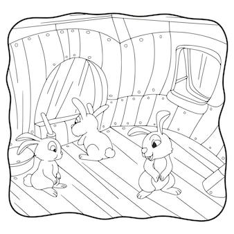 Illustration de dessin animé le lapin est dans le livre ou la page de la maison pour les enfants en noir et blanc