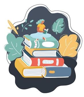 Illustration de dessin animé de lecture de livre par une femme assise sur une pile sur fond sombre.