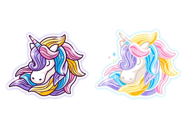 Illustration de dessin animé de licorne aux cheveux colorés