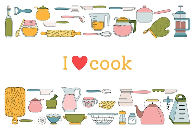 Illustration de dessin animé de ligne outil de cuisine