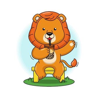Illustration de dessin animé de lion mignon buvant du thé à bulles de lait