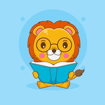 Illustration de dessin animé de lion nerd mignon avec des lunettes en lisant un livre