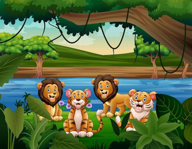Illustration de dessin animé de lions et de tigres mignons dans la nature