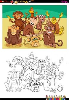 Illustration de dessin animé de livre de coloriage de singes