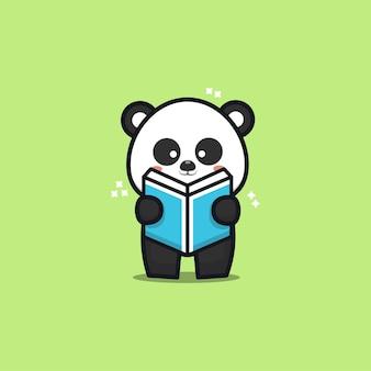 Illustration de dessin animé de livre de lecture panda mignon
