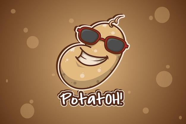Illustration de dessin animé de logo de pomme de terre cool