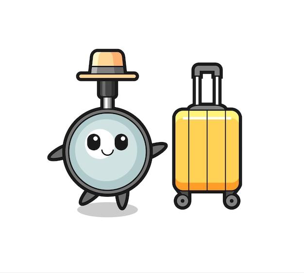Illustration de dessin animé de loupe avec bagages en vacances, design de style mignon pour t-shirt, autocollant, élément de logo
