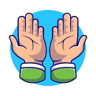 Illustration de dessin animé de mains en prière