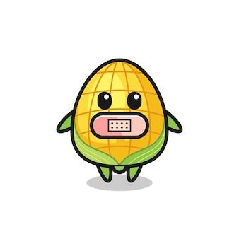 Illustration de dessin animé de maïs avec du ruban adhésif sur la bouche, design de style mignon pour t-shirt, autocollant, élément de logo