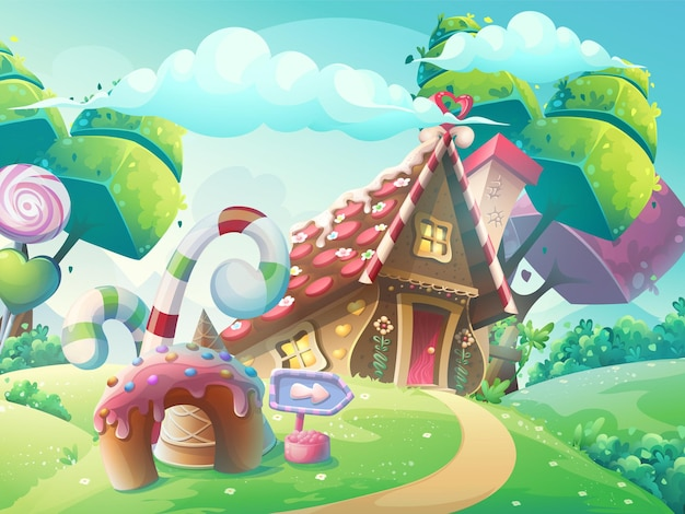 Illustration de dessin animé maison de bonbons sucrés avec des arbres fantastiques, gâteau drôle et caramel