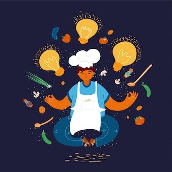 Illustration de dessin animé de la maison et petit restaurant homme concept de cuisinier homme. chef de garçon méditant et créant des idées pour cuisiner. développement professionnel