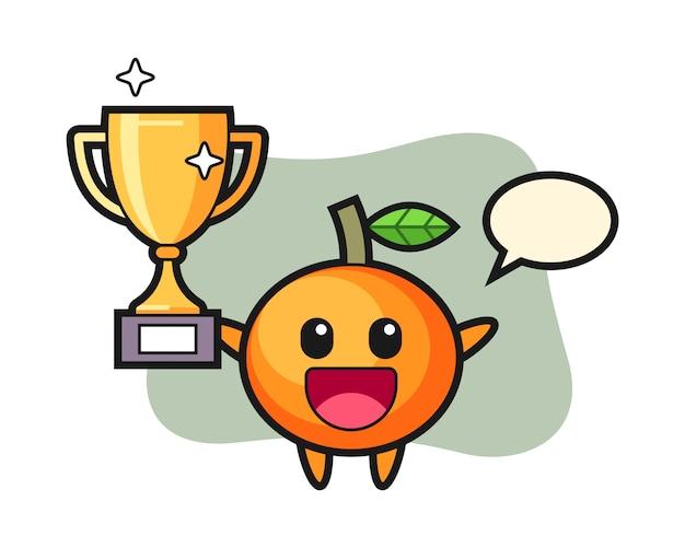 Illustration de dessin animé de mandarine est heureuse de brandir le trophée d'or, style mignon, autocollant, élément de logo