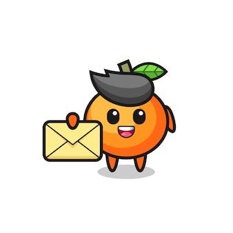 Illustration de dessin animé de mandarine tenant une lettre jaune, design de style mignon pour t-shirt, autocollant, élément de logo