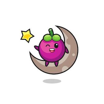 Illustration de dessin animé de mangoustan assis sur la demi-lune, design de style mignon pour t-shirt, autocollant, élément de logo