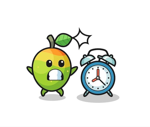 L'illustration de dessin animé de la mangue est surprise par un réveil géant, un design de style mignon pour un t-shirt, un autocollant, un élément de logo