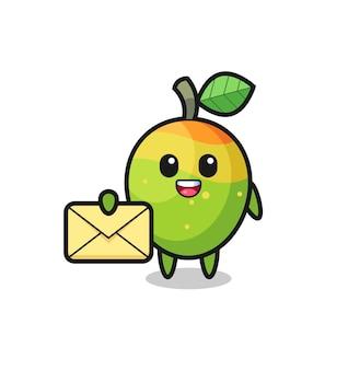 Illustration de dessin animé de mangue tenant une lettre jaune, design de style mignon pour t-shirt, autocollant, élément de logo