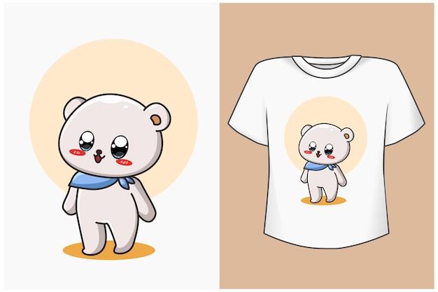 Illustration de dessin animé de maquette ours mignon