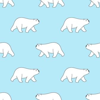 Illustration de dessin animé de marche polaire modèle sans couture ours