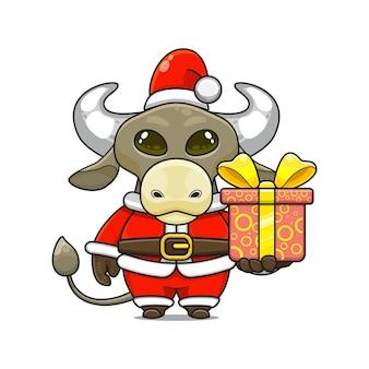 Illustration de dessin animé d'une mascotte de buffle mignon portant un costume de père noël donnant une boîte-cadeau