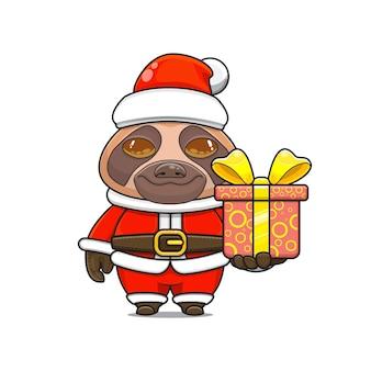Illustration de dessin animé d'une mascotte de paresseux mignon portant un costume de père noël donnant une boîte-cadeau