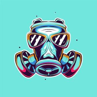 Illustration de dessin animé de masque à gaz