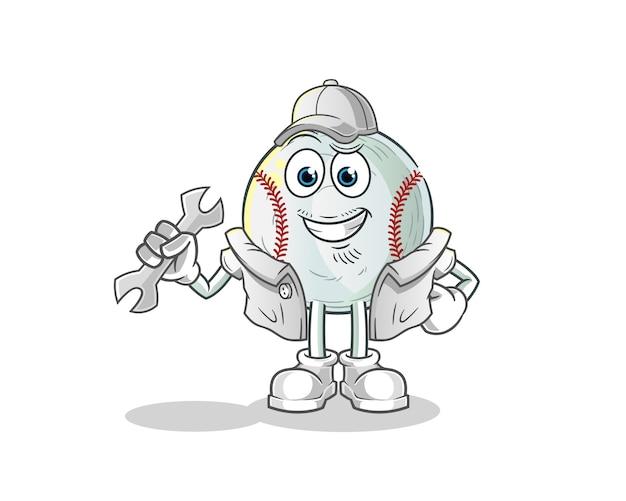 Illustration de dessin animé de mécanicien de baseball